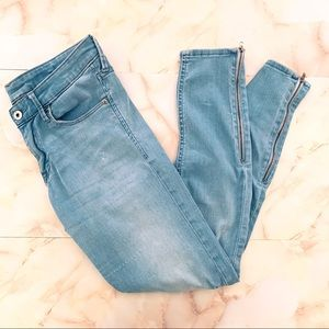 h&m &denim low rise zipper ankle skinny jeans